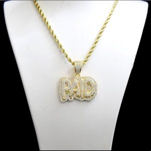 Other - 14k Gold Lab Diamond Iced Out PAID Charm Chain